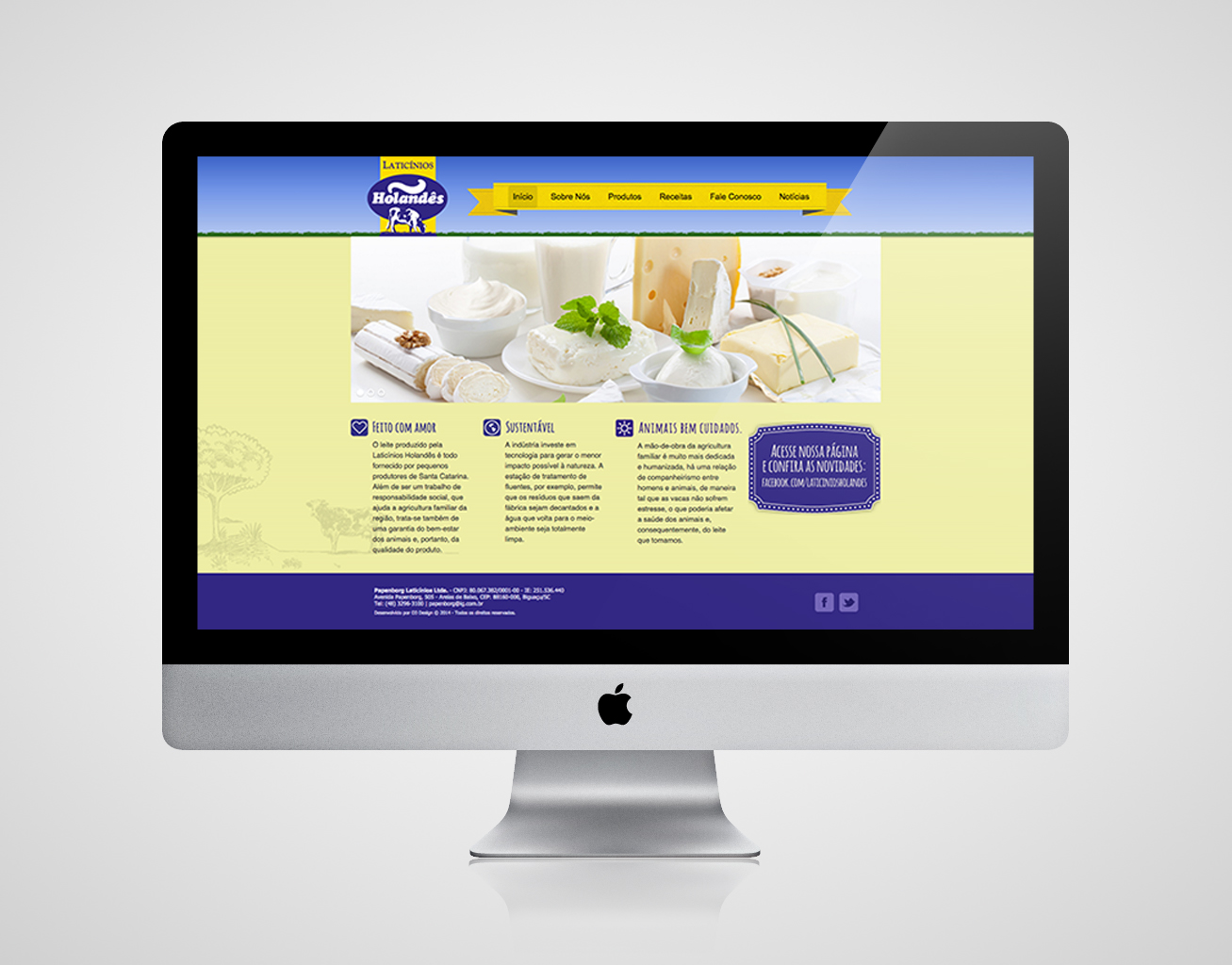 O3 Design - Webdesign para Laticínios Holandês