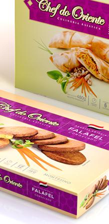 Design de embalagem para congelados Chef do Oriente