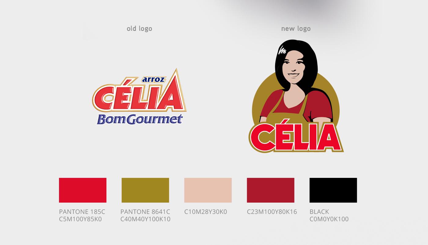 redesign de logotipo Arroz Célia antes e depois