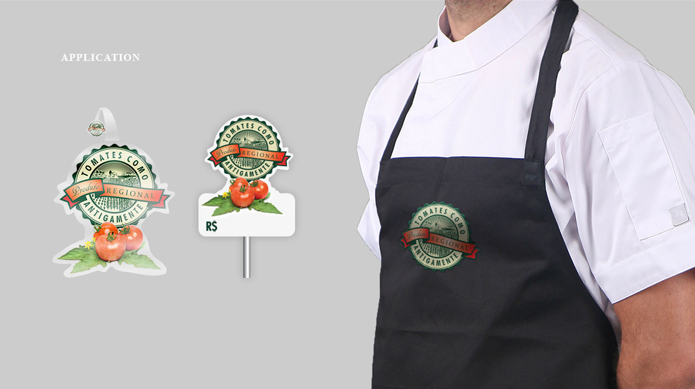 aplicação da logomarca de tomates como antigamente