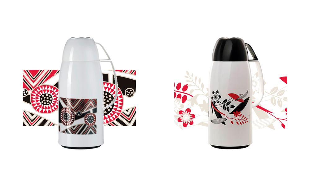 Criação de estampas exclusivas para garrafas térmicas INVICTA Coleman