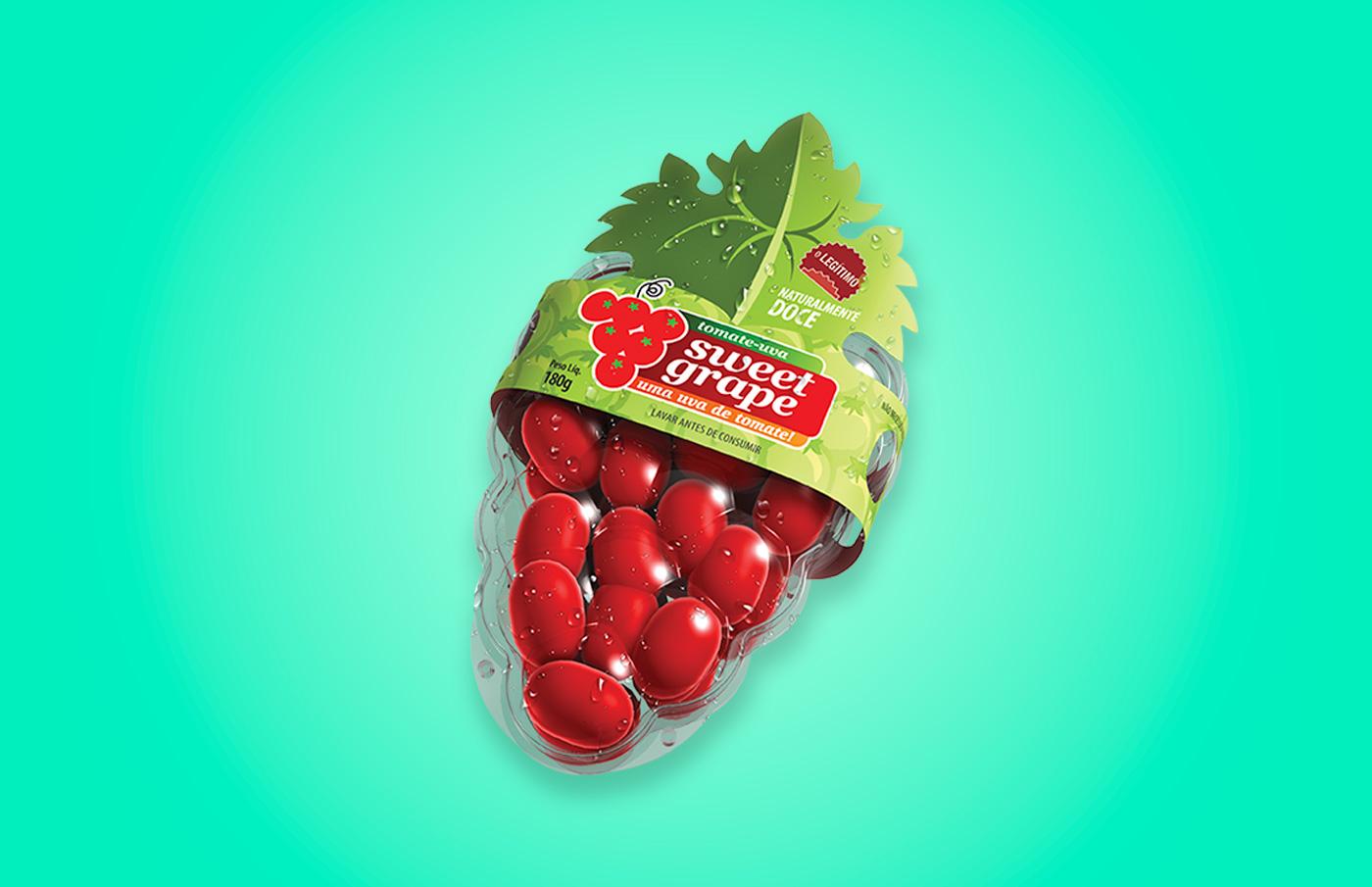 design de Embalagem para tomates Sweet Grape