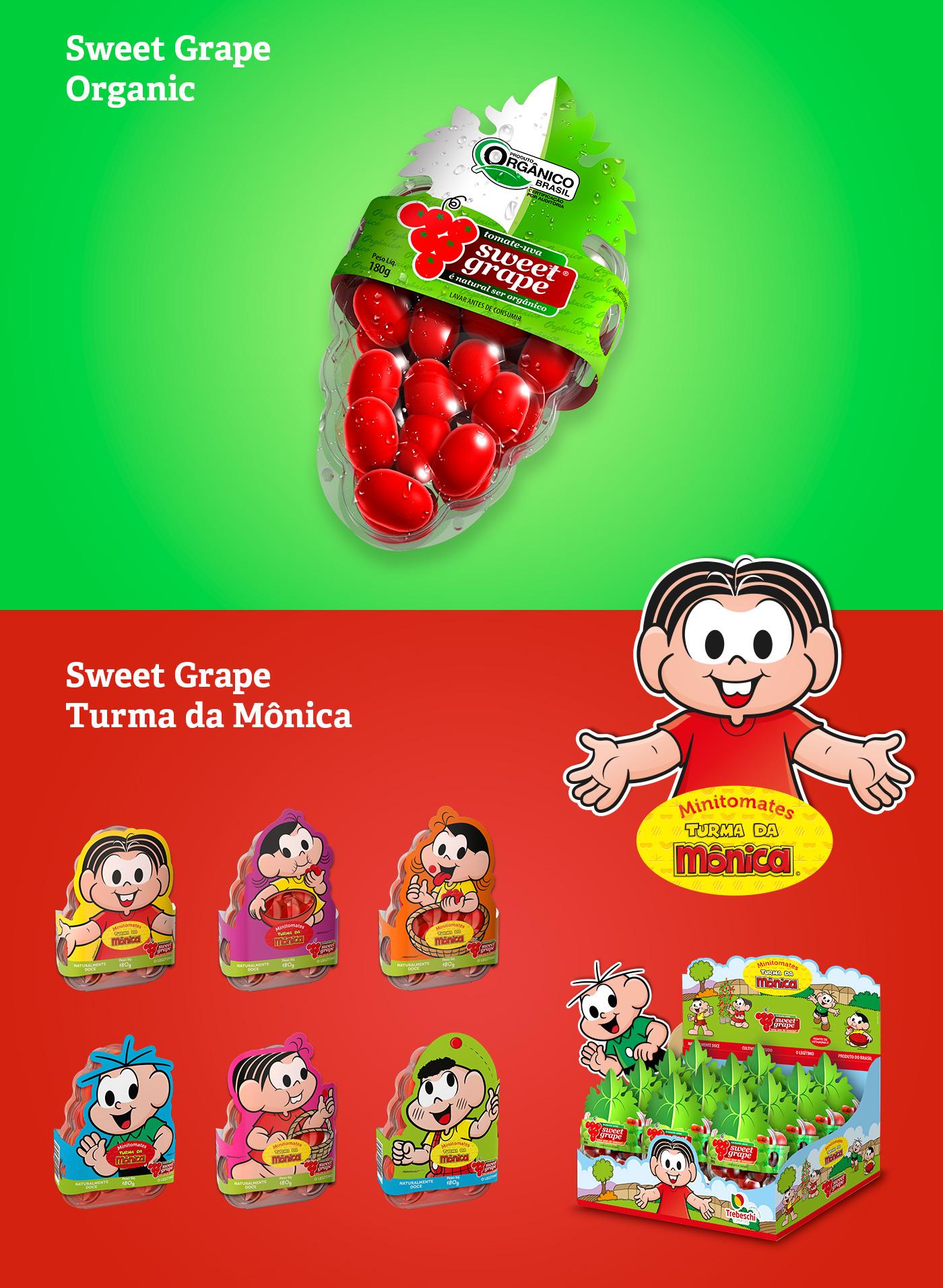 design de embalagens Sweet Grape Turma da Mônica e orgânico