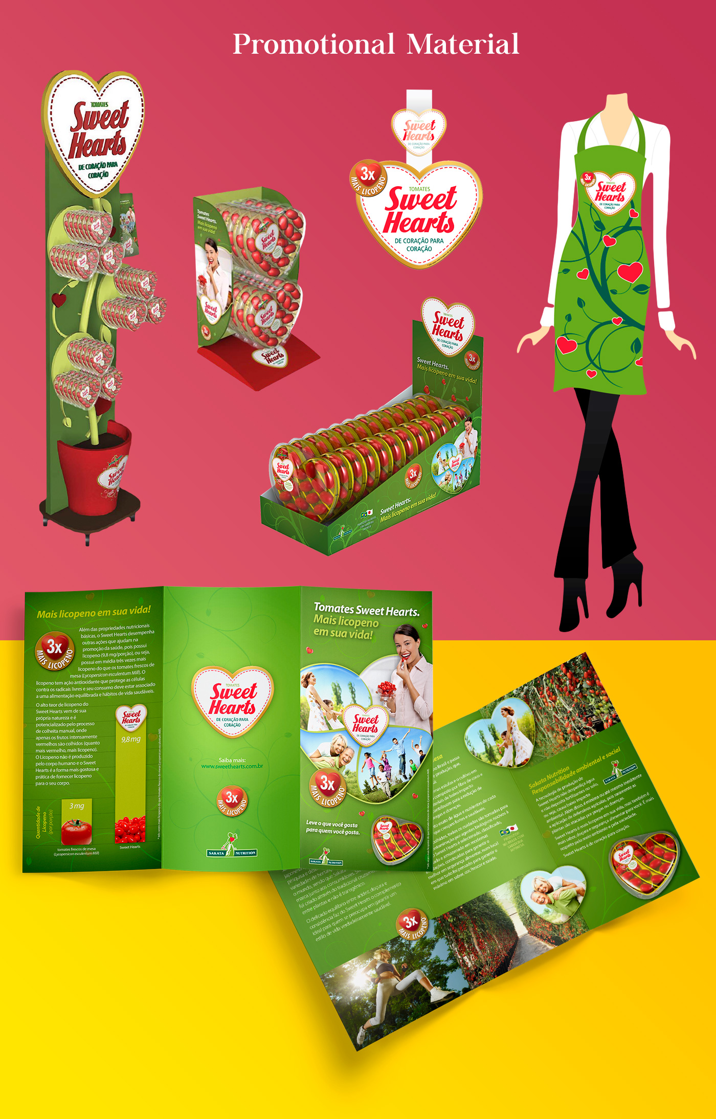 Merchandising pieces for Sweet Hearts tomato packaging