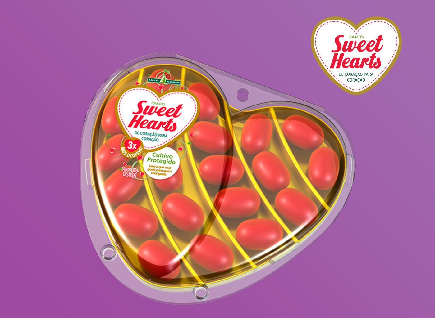 design Embalagem formato coração para tomates do tipo grape