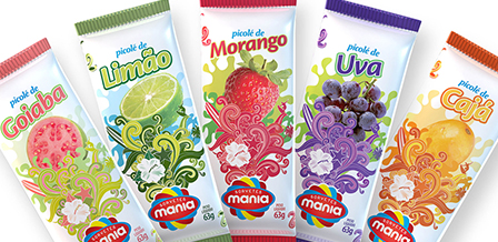 Design de embalagem Picolés de frutas SORVETES MANIA