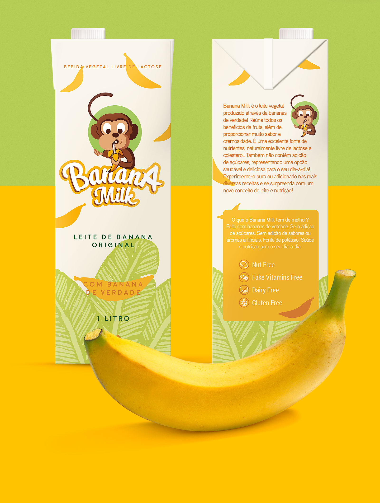 Embalagem tetra pak para leite de banana - Banana Milk