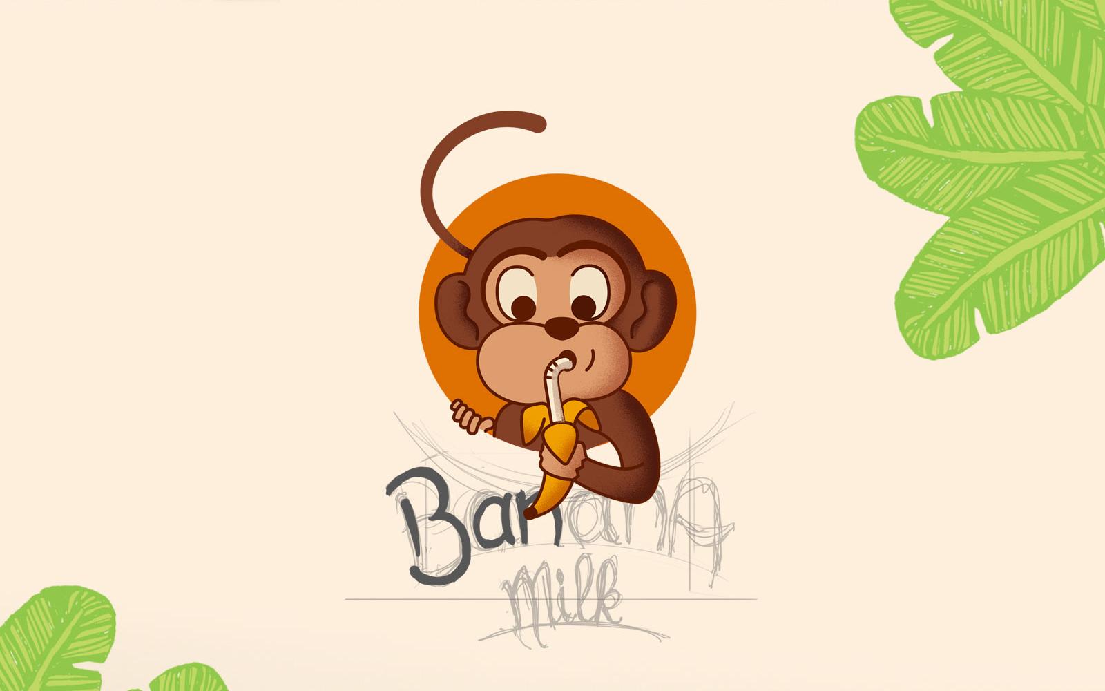 Ilustração embalagem tetra pak para leite de banana - Banana Milk