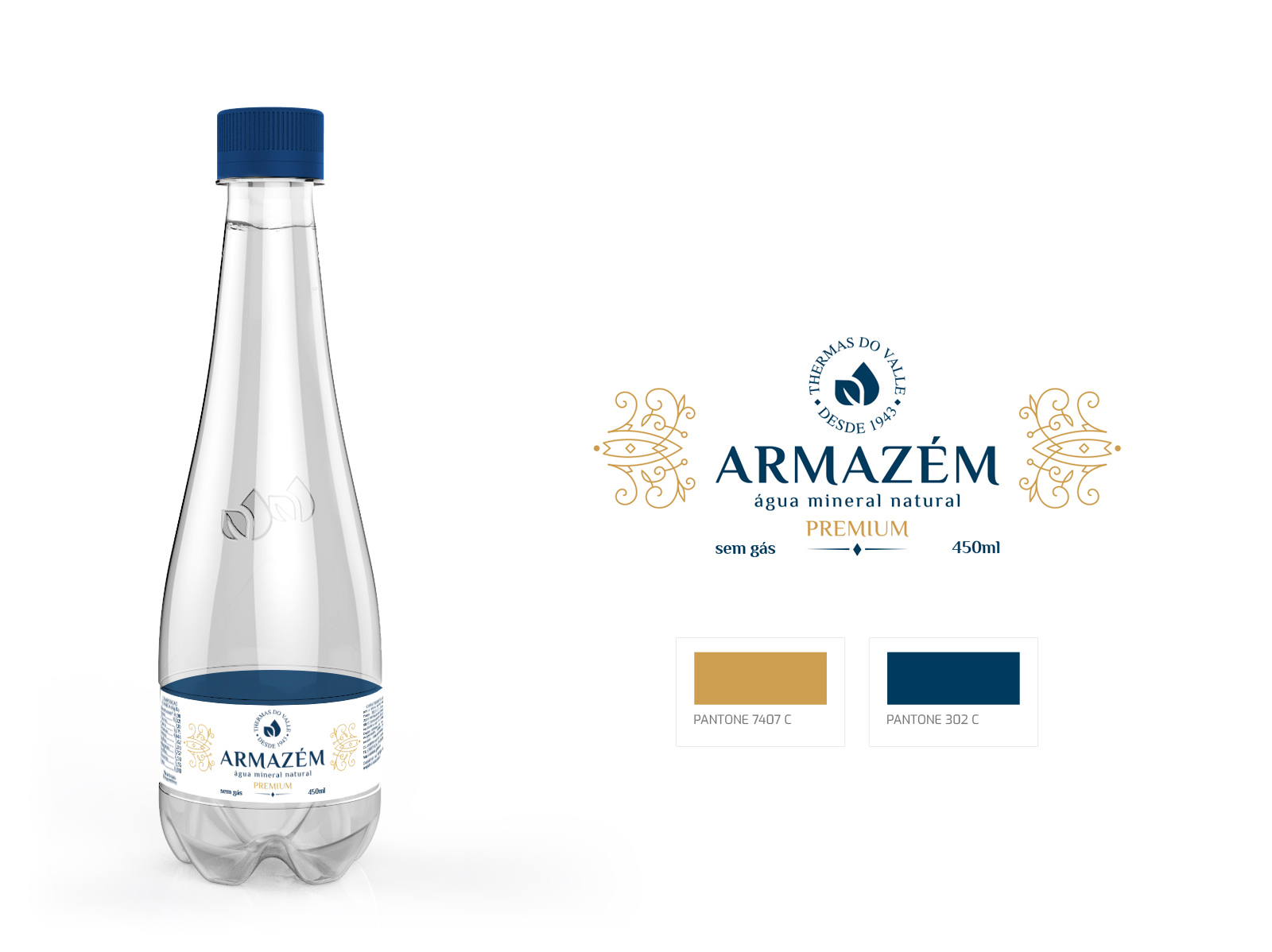 Design de rótulo para água mineral premium