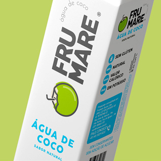 Branding e Rótulos para Água de Coco e Gelo de Coco Frumare