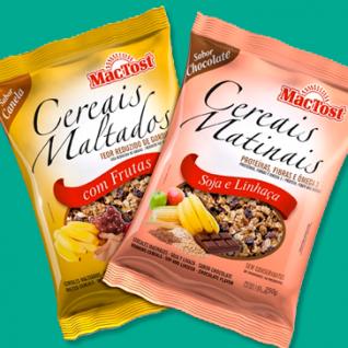 design de embalagem para Cereais Matinais MAC TOST