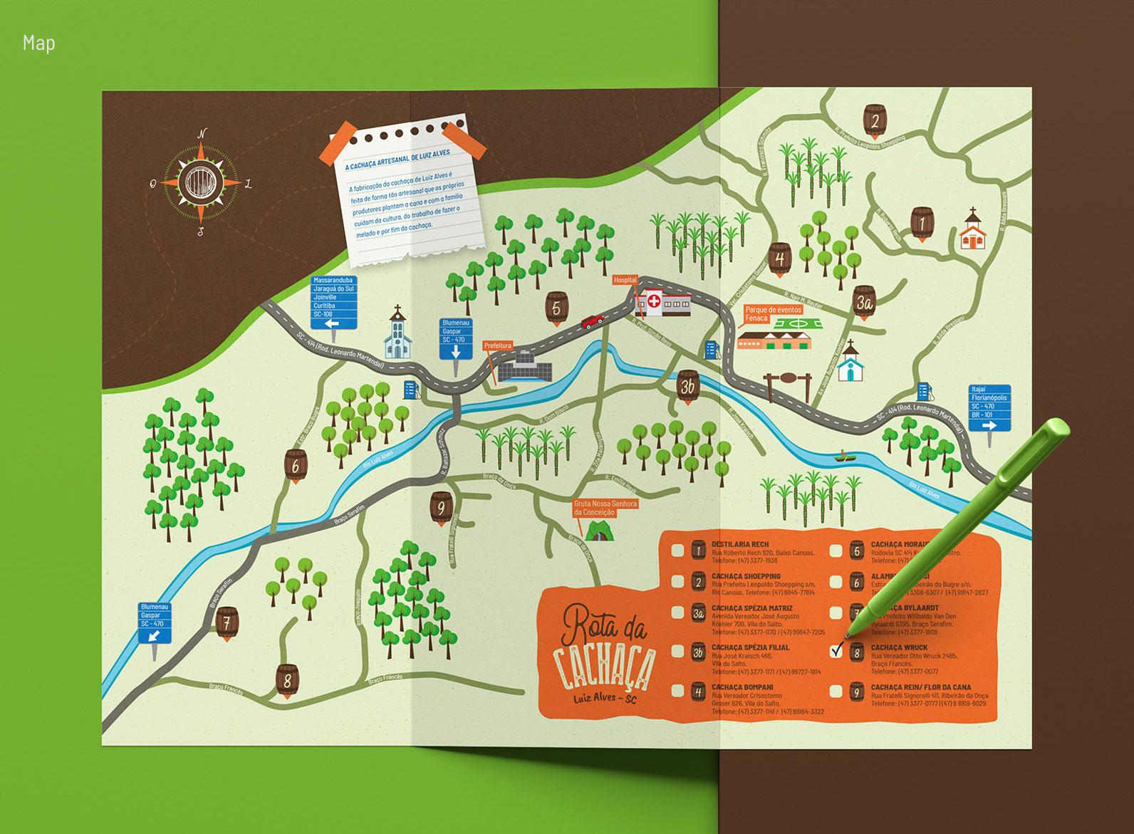 Ilustração de Mapa para Rota da Cachaça