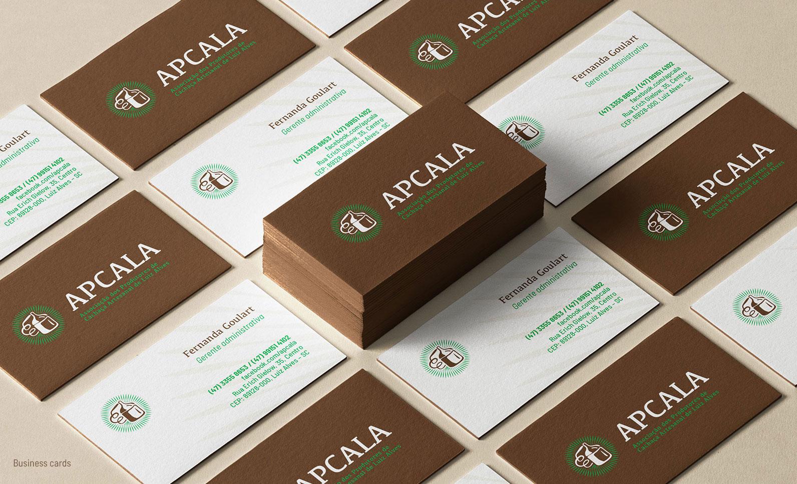 Cartão de visitas para Associação de Produtores de Cachaça de Luis Alves