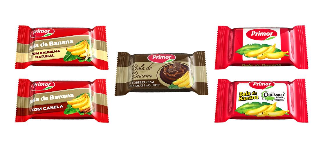 criação de Embalagens balas de banana PRIMOR