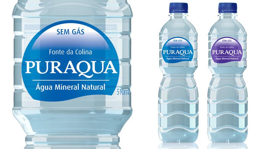 Mineral water label design and branding for Puraqua | O3 Design